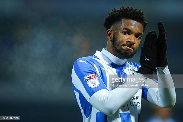 Kasey Palmer of Huddersfield Town applauds the fans at full time during the Sky Bet Championship match between Huddersfield Town and Wigan Athletic...