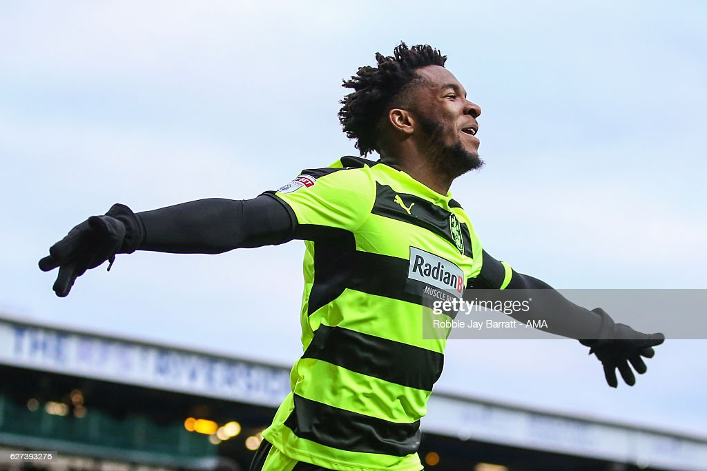 Kasey Palmer of Huddersfield Town celebrates after scoring a goal to make it 0-1 during the Sky Bet Championship match between Blackburn Rovers and Huddersfield Town at Ewood Park on December 3, 2016 in Blackburn, England.