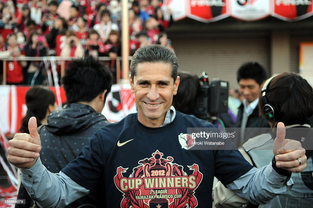 Kashima Antlers head coach Jorginho celebrates winning the J.League Yamazaki Nabisco Cup final between Shimizu S-Pulse and Kashima Antlers at the National Staidum on November 3, 2012 in Tokyo, Japan.