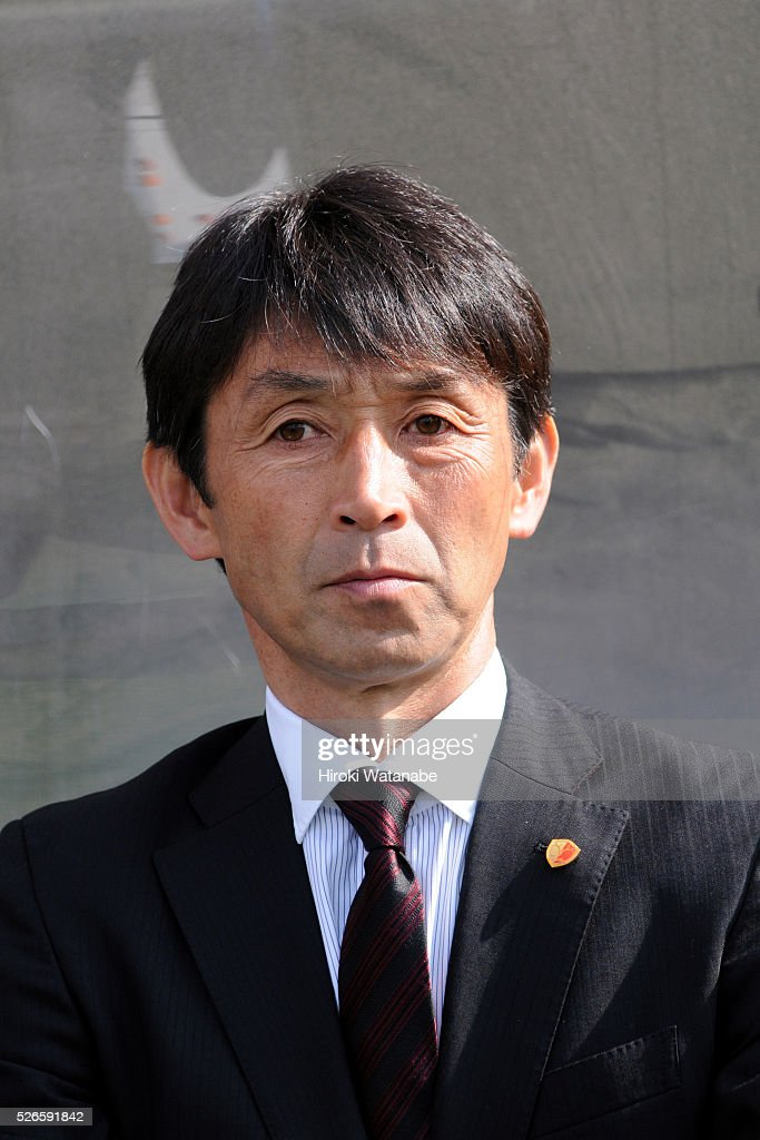 Kashima Antlers head coach Masatada Ishii looks on prior to the J.League match between Omiya Ardija and Kashima Antlers at Nack 5 Stadium Omiya on April 30, 2016 in Saitama, Japan.