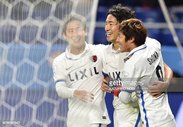 Kashima Antlers midfielder Mu Kanazaki celebrates his goal with teammates during the Club World Cup football match between Kashima Antlers and...