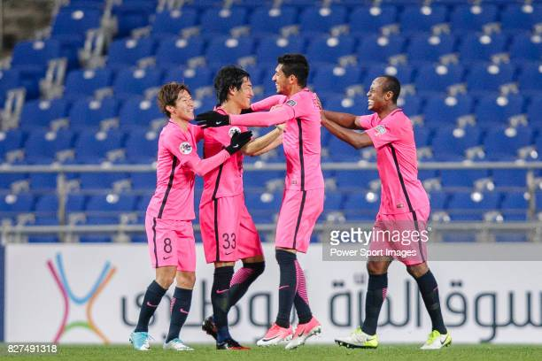 Kashima Forward Pedro Junior celebrating his goal with his teammates during the AFC Champions League 2017 Group E match between Ulsan Hyundai FC vs...