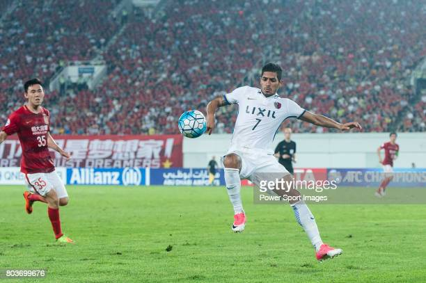 Kashima Forward Pedro Junior in action during the AFC Champions League 2017 Round of 16 match between Guangzhou Evergrande FC vs Kashima Antlers at...