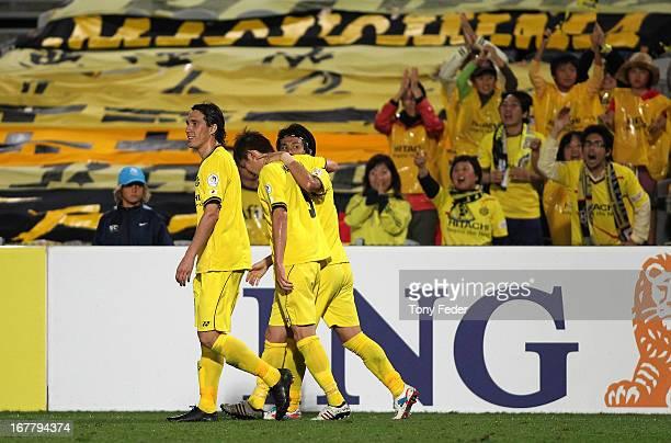 Kashiwa celebrate Kudo Masatos goal during the AFC Champions League match between the Central Coast Mariners and Kashiwa at Bluetongue Stadium on...