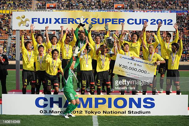 Kashiwa Reysol champions of Fuji Xerox Super Cup pose for photograph after the Fuji Xerox Super Cup match between Kashiwa Reysol and FC Tokyo at the...
