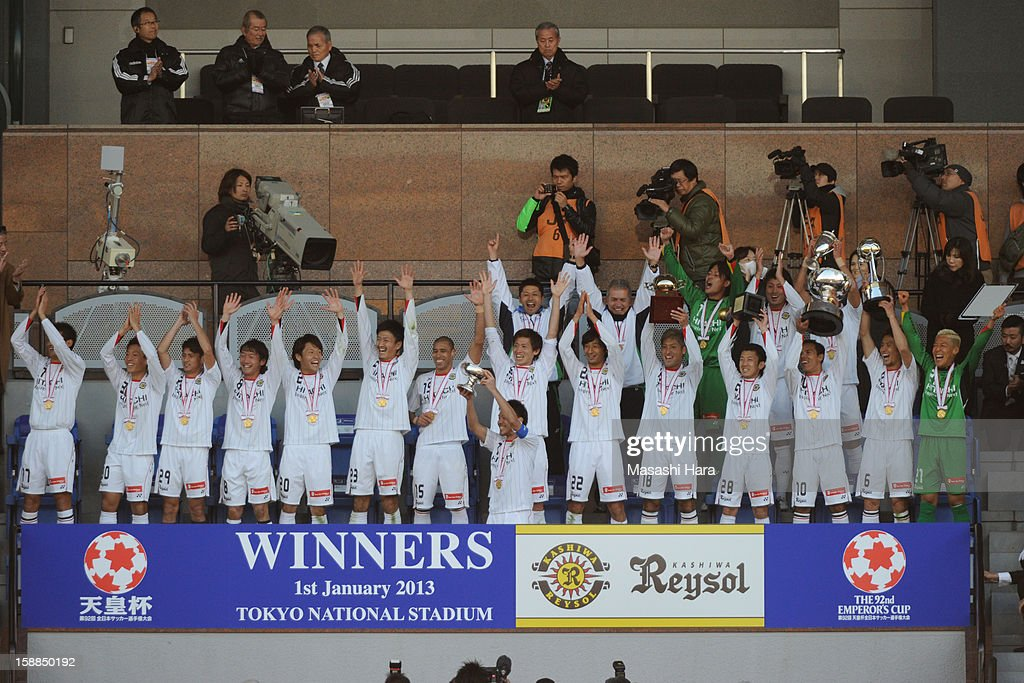 Kashiwa Reysol players celebrate the victory after the 92nd Emperor's Cup final match between Gamba Osaka and Kashiwa Reysol at the National Stadium on January 1, 2013 in Tokyo, Japan.