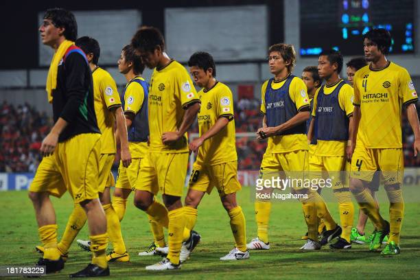 Kashiwa Reysol players leave the pitch dejected after being defeated in the AFC Champions League Semi Final 1st Leg match between Kashiwa Reysol and...