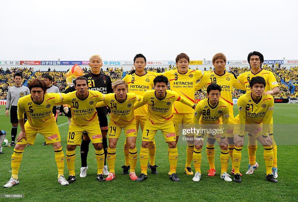 Kashiwa Reysol players line up for the team photos prior to the J.League match between Kashiwa Reysol and Oita Trinita at Hitachi Kashiwa Soccer Stadium on March 30, 2013 in Kashiwa, Chiba, Japan.