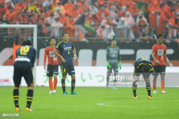 Kashiwa Reysol players react after the 11 draw in the JLeague J1 match between Omiya Ardija and Kashiwa Reysol at NACK 5 Stadium Omiya on October 21...