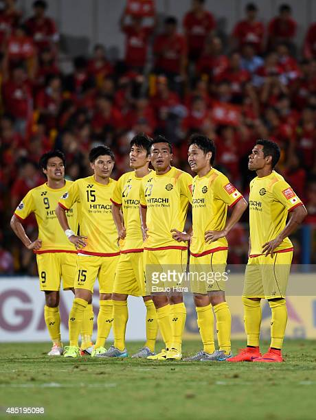 Kashiwa Reysol players show their frustration after their 13 defeat in the AFC Champions League quarter final first leg match between Kashiwa Reysol...