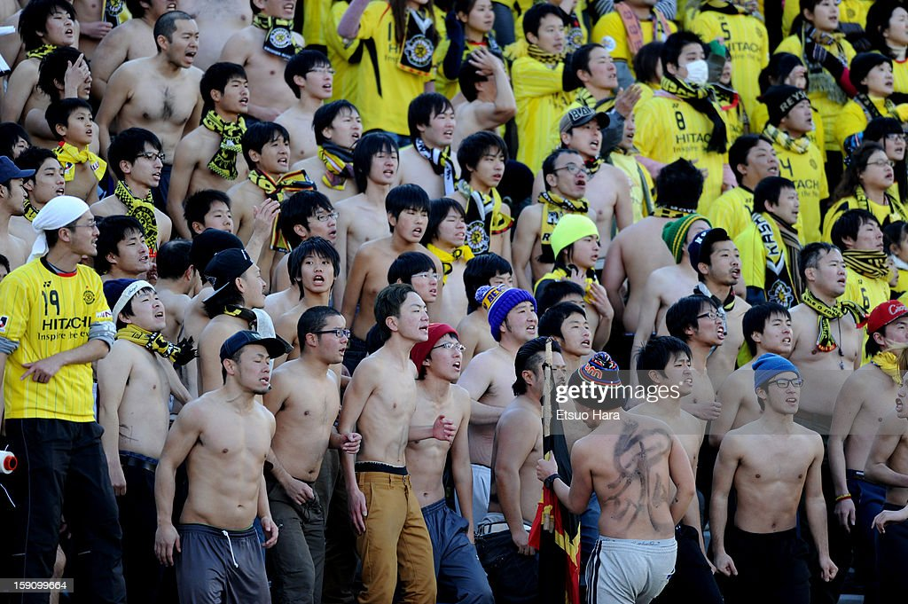 Kashiwa Reysol supporters cheer during the 92nd Emperor's Cup Final match between Gamba Osaka and Kashiwa Reysol at the National Stadium on Janaury 1, 2013 in Tokyo, Japan.