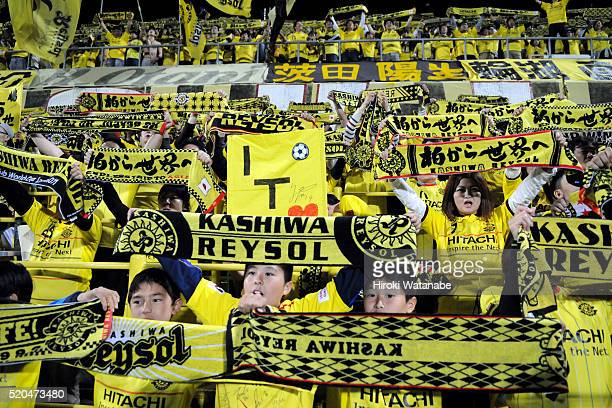 Kashiwa Reysol suppoters cheer prior to the JLeague match between Kashiwa Reysol and FC Tokyo at the Hitachi Kashiwa Soccer Stadium on April 10 2016...