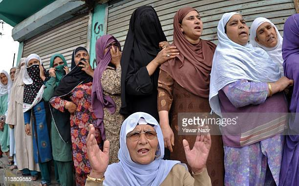 Kashmir Muslim women shout antiAmerican and antiIndian slogans after the prayers in absentia for slain AlQaeda chief Osama bin Laden who was killed...
