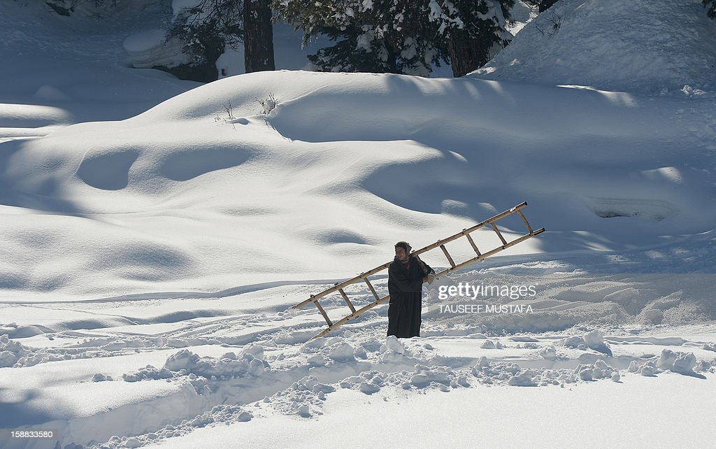 A Kashmiri labourer walks in a ski-resort in Gulmarg, about 55 kms north of Srinagar, on December 13, 2012. Gulmarg is the main ski destination in Indian Kashmir and hundreds of foreigners visit the slopes despite an ongoing insurgency in the region. AFP PHOTO/ Tauseef MUSTAFA