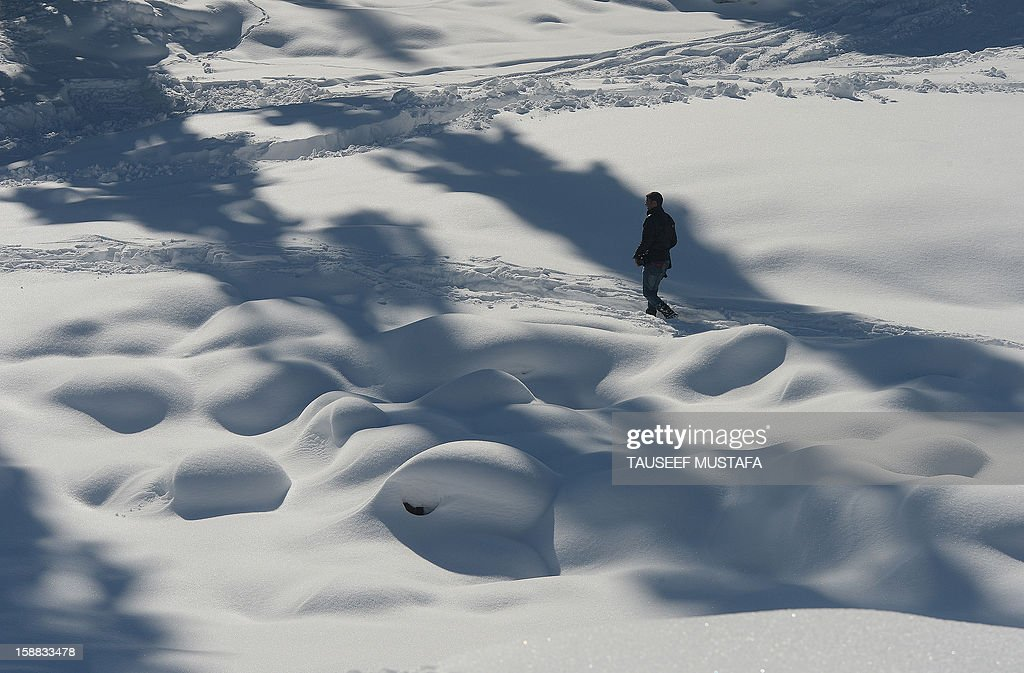 A Kashmiri man walks in Gulmarg, about 55 kms north of Srinagar, on December 31, 2012. Gulmarg is the main ski destination in Indian Kashmir and hundreds of foreigners visit the slopes despite an ongoing insurgency in the region. AFP PHOTO/ Tauseef MUSTAFA