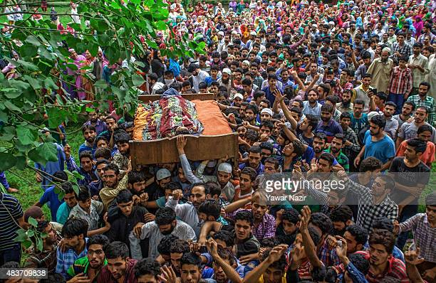 Kashmiri Muslim carry the body of Bilal Ahmad Bhat a civilian who was allegedly shot dead by Indian paramilitary Border Security Force during his...