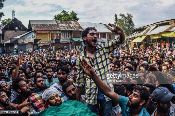 A Kashmiri Muslim chants antiIndian and proKashmir freedom slogans in front the body of Tanveer Ahmad Pala a civilian killed by Indian military...