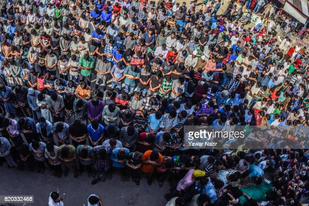 Kashmiri Muslim offer the funeral prayers in front the body of Tanveer Ahmad Pala a civilian killed by Indian military forces on July 21 2017 in...