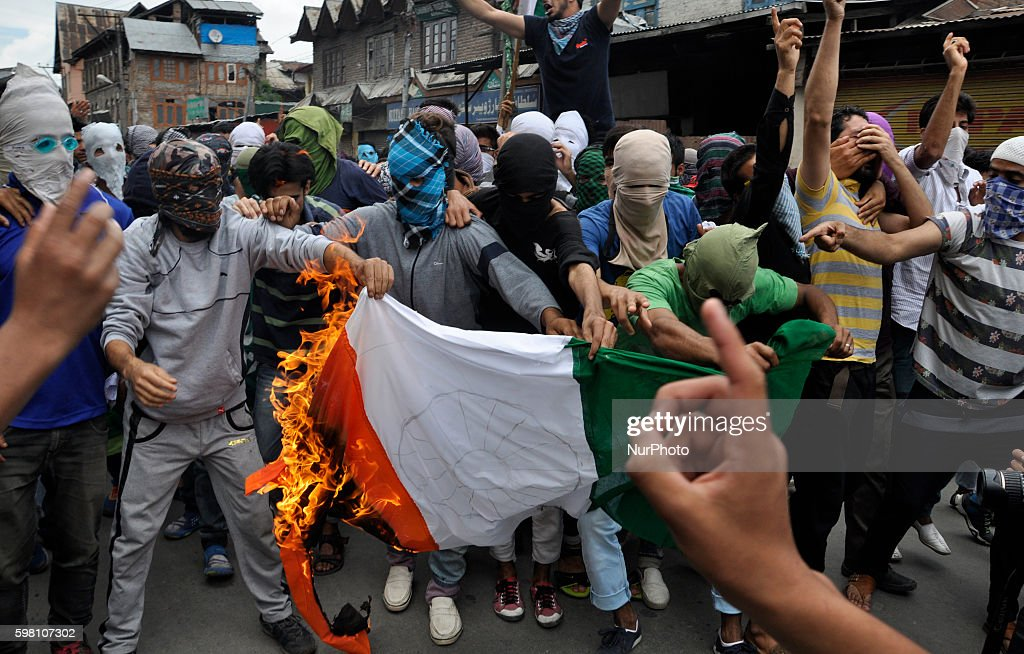 Kashmiri Muslim Protesters Burn An Indian Flag during a demonstration in Old city Srinagar on August 31 2016 Protests erupted in Kashmir after Indian...