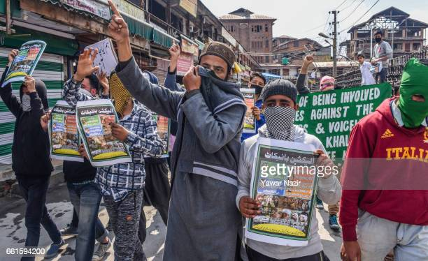 Kashmiri Muslim protesters chant antiIndian slogans during an anti India protest against the recent civilian killings by the Indian government forces...