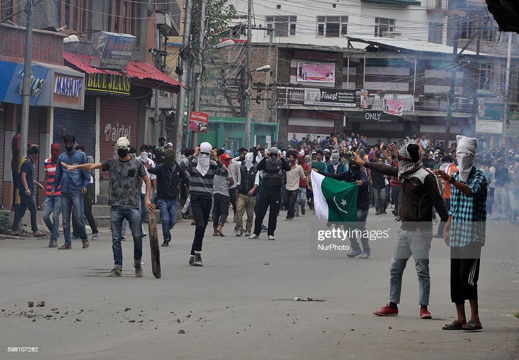 Kashmiri Muslim protesters During clashes in Old city Srinagar on August 31 2016 Protests erupted in Kashmir after Indian Authorities lifted curfew...