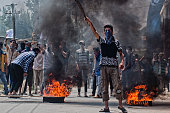 Kashmiri Muslim protesters shout anti Indian slogans during an anti Indian protest following violence that has left over 46 people dead and thousands...