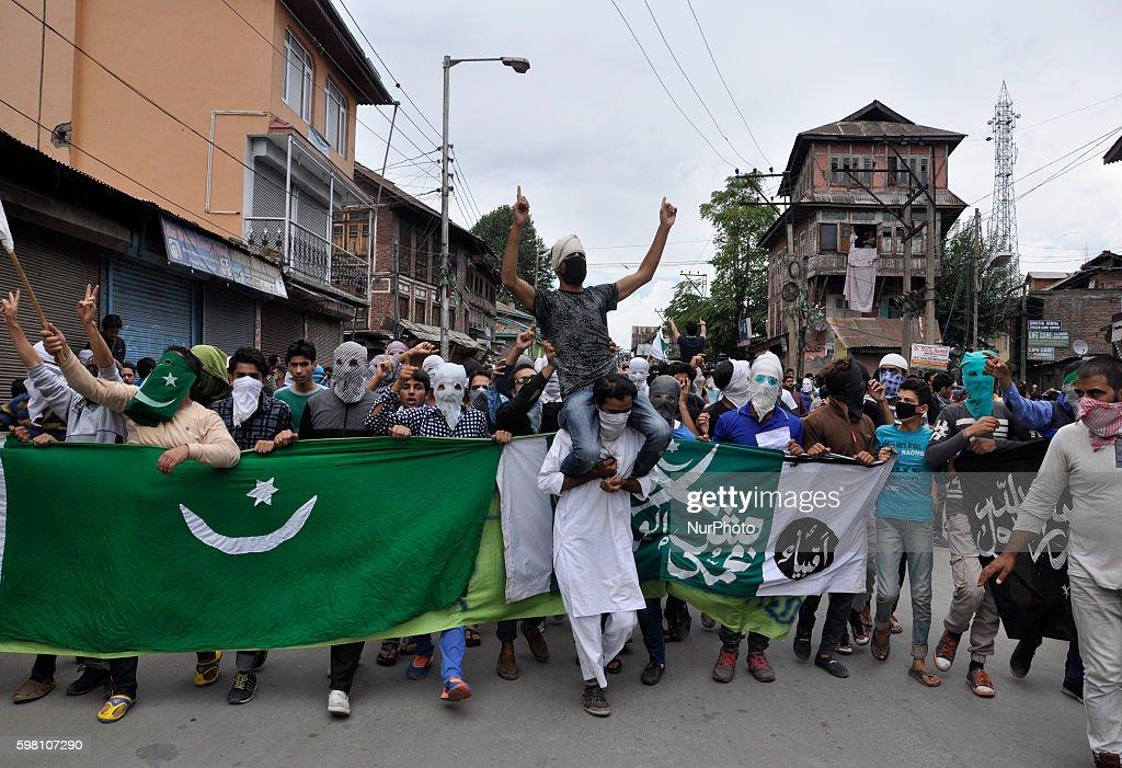 Kashmiri Muslim Protesters Shout Profreedom slogans during a demonstration in Old city Srinagar on August 31 2016 Protests erupted in Kashmir after...