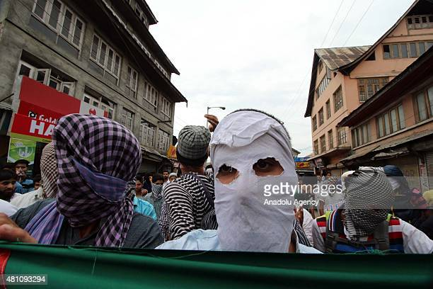Kashmiri muslim protesters shout slogans in support of Palestine in old city Srinagar the summer capital of Indian administered Kashmir on July...
