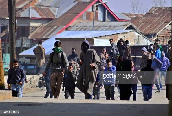Kashmiri Muslim protesters throwing stone and bricks towards security personals during a protest in sopore some 55 kilometers from Srinagar the...