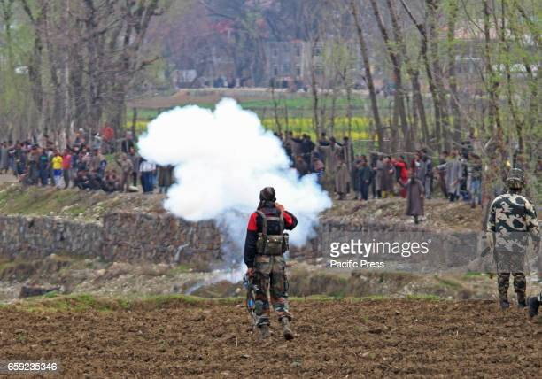 Kashmiri Muslim supporters pelting stones on government forces near an encounter site in Chadoora area of Central Kashmirs Budgam district One...