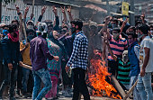 Kashmiri Muslim woman shouts anti Indian slogans during an anti Indian protest following violence that has left over 46 people dead and thousands...
