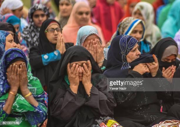 Kashmiri Muslim women offer congregational EidulFitr prayers at Eid Gah on Eidulfitr a festival of Muslims on June 26 2017 in Srinagar the summer...