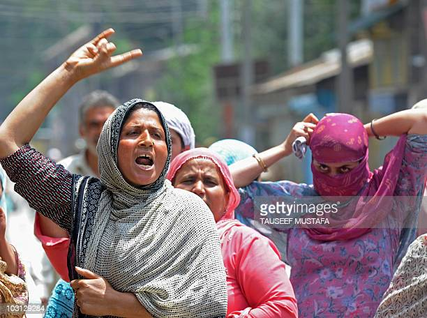 Kashmiri Muslim women shout antiIndia slogans during a protest in Srinagar on July 26 2010 The death of a man in police custody in Indiaadministered...