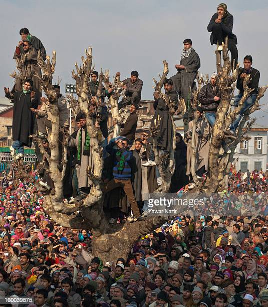 Kashmiri Muslims on top of a tree look towards a cleric displaying the holy relic believed to be the hair from the beard of the Prophet Mohammed at...