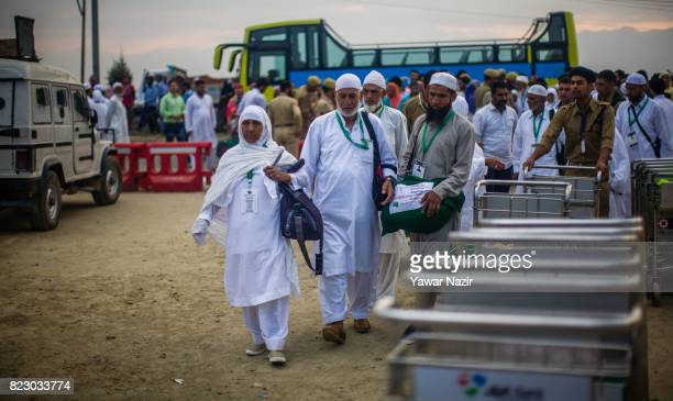 Kashmiri Muslims prepare to depart for the annual Hajj pilgrimage to Mecca on July 26 2017 in Srinagar the summer capital of Indian administered...
