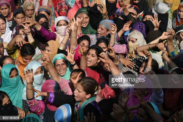 Kashmiri Muslims shout profreedom slogans during a funeral of Tanveer Ahmed in Beerwah town of central Kashmirs Budgam district on July 21 2017 The...