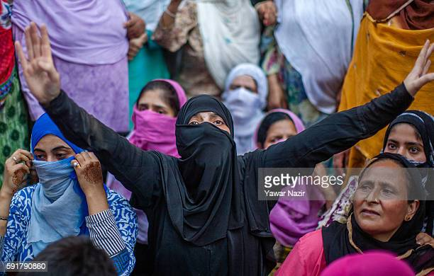 Kashmiri Muslims women chant anti Indian and pro Kashmir freedom slogans during an anti Indian protest following violence that has left over 67...