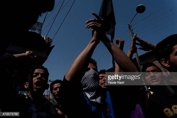 Kashmiri protesters shout antiIndian and pro Kashmir freedom slogans during a protest on April 17 2015 in Srinagar the summer capital of Indian...