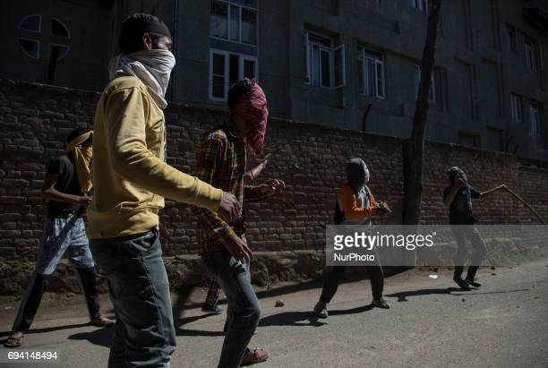 Kashmiri protesters throws stones at Indian police men during a protest Friday June 9 in Srinagar Indianadministered Kashmir India Profreedom leaders...