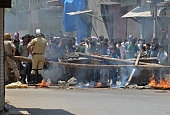 Kashmiri protestors shout profreedom and antiIndian slogans as Indian police look on in Srinagar on July 23 2016 Large parts of Indianadministered...