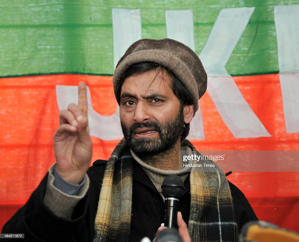 Kashmiri separatist leader and JKLF chairman <a gi-track='captionPersonalityLinkClicked' href=/galleries/search?phrase=Yasin+Malik&family=editorial&specificpeople=691200 ng-click='$event.stopPropagation()'>Yasin Malik</a> addressing press conference on Thursday 26, February 2015 in Srinagar, India. <a gi-track='captionPersonalityLinkClicked' href=/galleries/search?phrase=Yasin+Malik&family=editorial&specificpeople=691200 ng-click='$event.stopPropagation()'>Yasin Malik</a> today accepted that separatists in Kashmir were defeated by the Centre in the recently concluded Assembly elections which saw no effect of poll boycott campaign run by them.