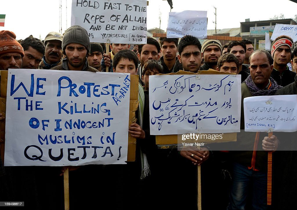 Kashmiri Shiite Muslims hold placards and banners during a protest against the recent killings in Queta, Pakistan on January 14, 2013, in Budgam, 20 km (12 miles) west of Srinagar, the summer capital of Indian Administered Kashmir, India. Hundreds of Kashmiri Shiite Muslims took to the streets in Kashmir to protest against series of blasts in the city of Quetta in southwest Pakistan that killed 93 Shiite Muslims and wounded 169 on Thursday. The protesters were carrying banners and placards demanding strict action against those involved in killings in the country.