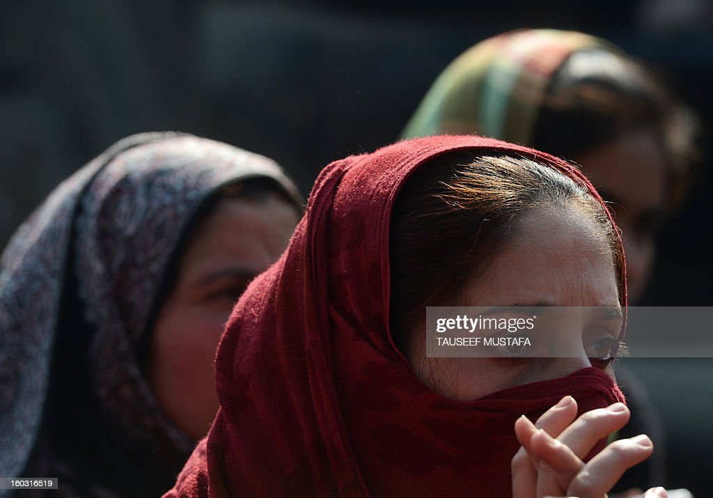 Kashmiri state government employees sit during an anti-government protest in Srinagar on 29 January, 2013. The demonstrators were demanding the regularisation of contractual employees and the release of their unpaid salaries. AFP PHOTO/ Tauseef MUSTAFA