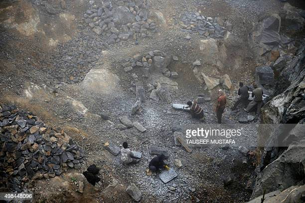 Kashmiri stonemasons work at quarry in Bandipora on November 23 2015 Stone sculpture making in the Kashmir Valley stretches back to when sculptors...