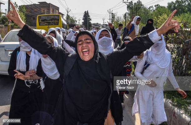 Kashmiri students chant antiIndian slogans after an attack by Indian government forces on students during the fourth consecutive day of protests on...