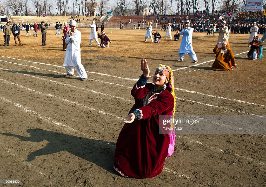 Kashmiri students from different schools perform before main stream politicians and ministers during India's Republic Day celebrations on January 26, 2013 in Srinagar, the summer capital of Indian Administered Kashmir. All businesses, schools and shops were closed and traffic remained off the roads following a strike call given by Kashmiri separatist leaders against India's Republic Day celebrations in Kashmir. Meanwhile India deployed large numbers of Indian police and paramilitary forces to prevent any incidents during the official celebrations.
