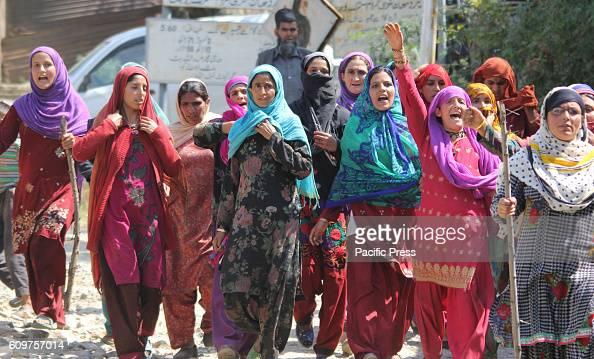Kashmiri village women shout slogans at Aragam village of Bandipora district north of Srinagar Indian controlled Kashmir A suspected Rebel was killed...