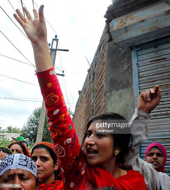 Kashmiri woman yells in protest against recent killings by Indian police on September 13 2010 on the outskirts of Srinagar the summer capital of...