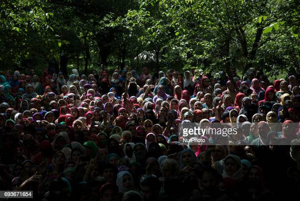 Kashmiri women attend the funeral of a teenager Adil Magray at Shopian about 60 kilometers south of Srinagar Indianadministered Kashmir Wednesday...