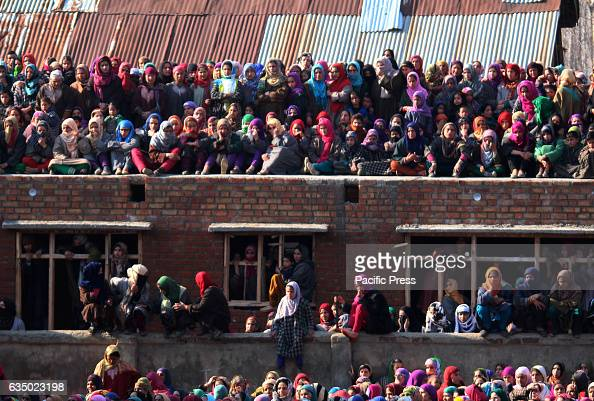 Kashmiri women participate in the funeral of two rebels in Hawoormisshipora village in Kulgam south of Kashmir on February 12 2017Indian controlled...
